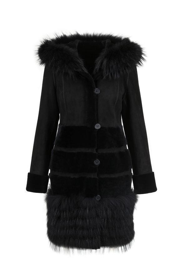 Viktoria Stass Black Merino Shearling & Fur Trim Hooded Coat