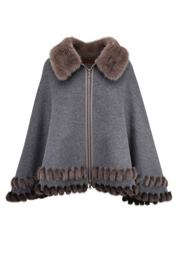 Viktoria Stass Gray Cashmere & Wool Poncho With Mink Trim
