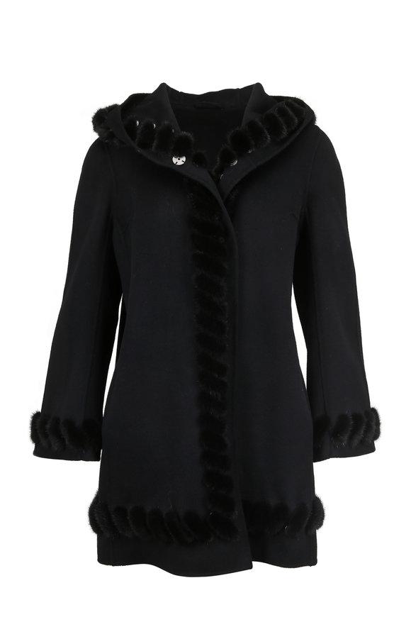 Viktoria Stass Black Cashmere & Wool Mink Whipstitch Hooded Coat