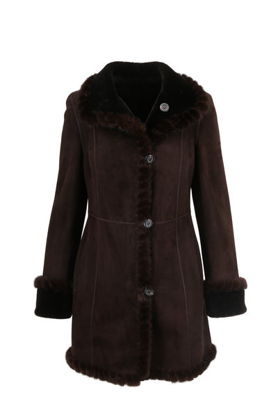 Viktoria Stass - Brown Merino Shearling & Mink Whip Stitch Coat
