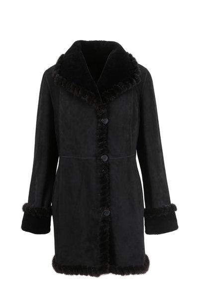 Viktoria Stass - Black Merino Shearling Wing Collar Coat