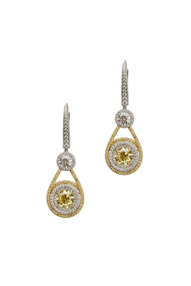 Fancy Vivid Yellow Dangle Earrings