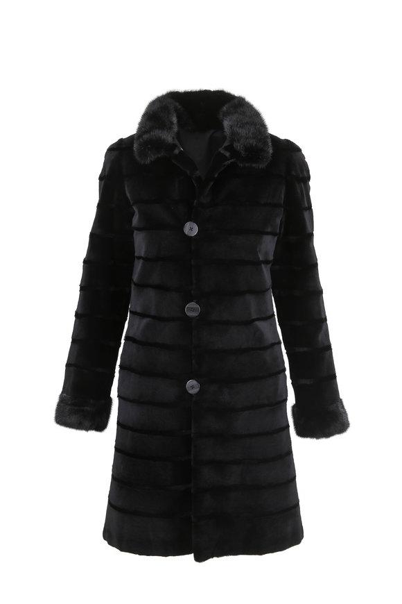 Viktoria Stass Black Sheared Mink & Taffeta Reversible Coat