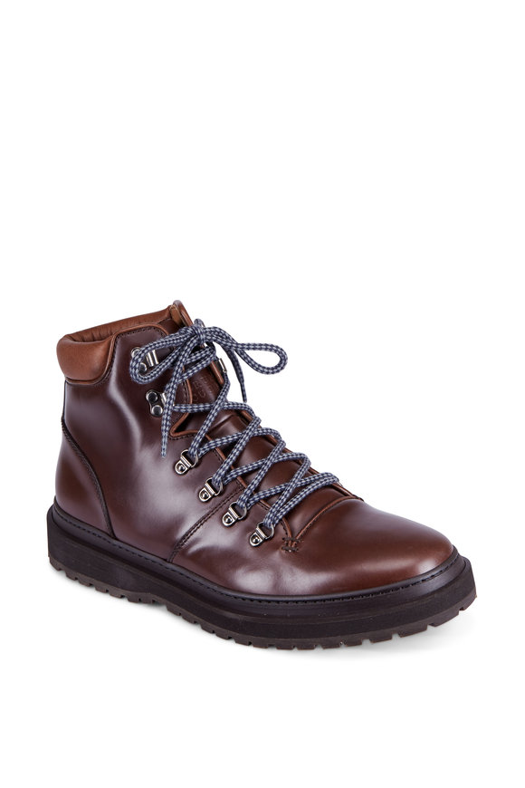 Brunello Cucinelli Ebony Leather Lace-Up Boot