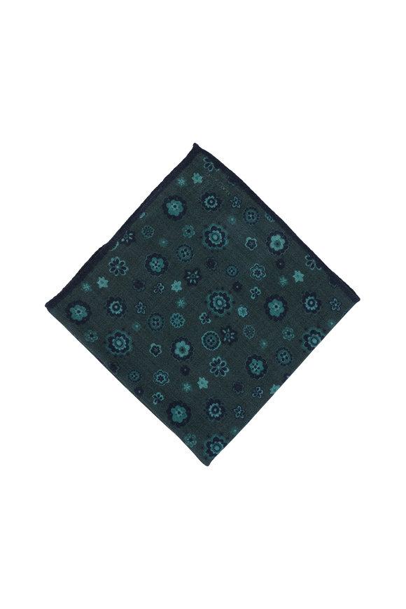 Kiton Teal Floral Wool Blend Pocket Square