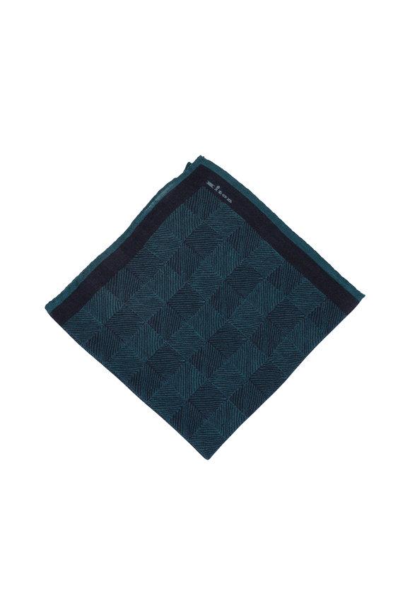 Kiton Teal Herringbone Wool Blend Pocket Square
