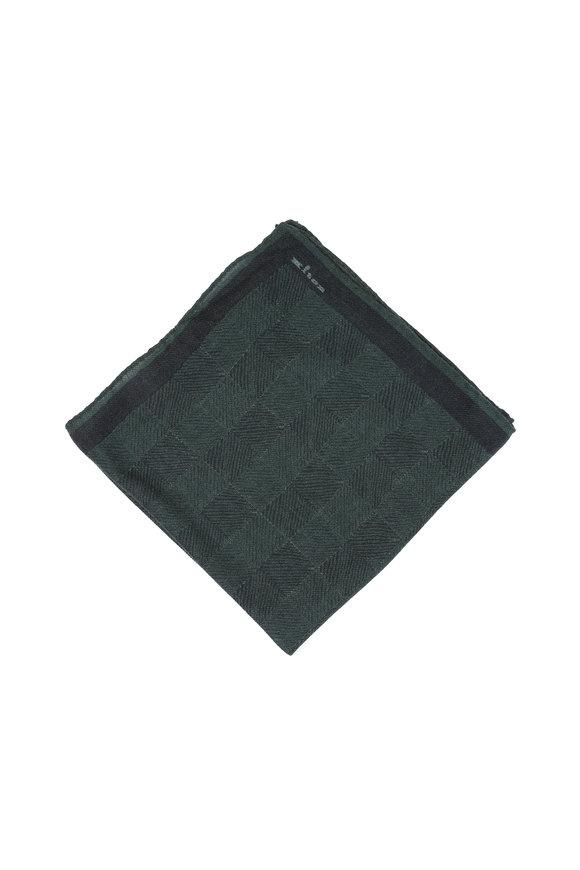 Kiton Green Herringbone Wool Blend Pocket Square