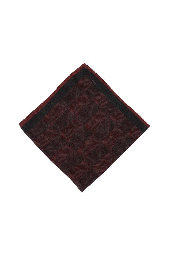 Kiton Burgundy Herringbone Wool Blend Pocket Square