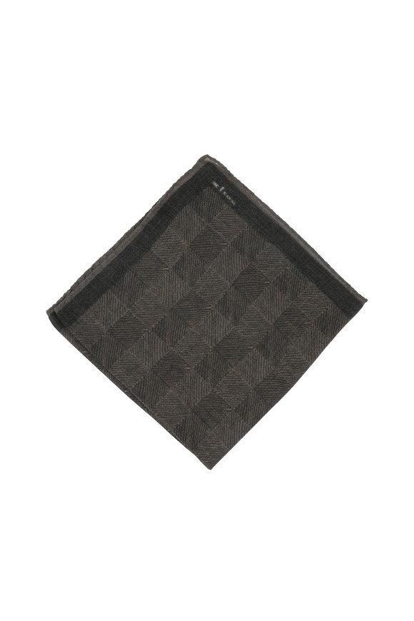 Kiton Olive Green Herringbone Wool Blend Pocket Square