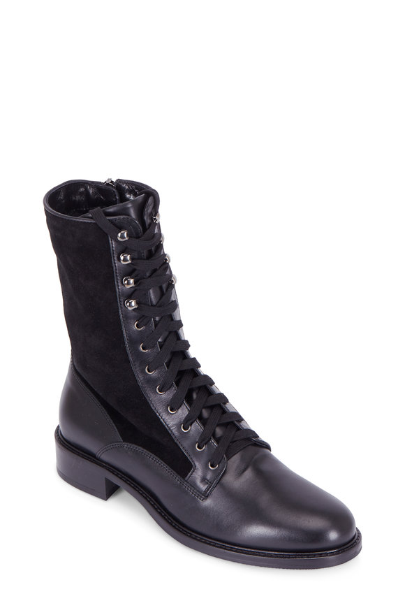 Aquatalia Brynn Black Leather & Suede Lace-Up Boot