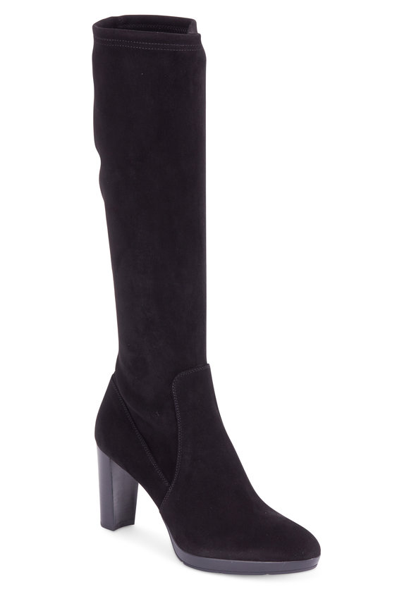 Aquatalia Roselyn Black Stretch Suede Tall Boot, 85mm