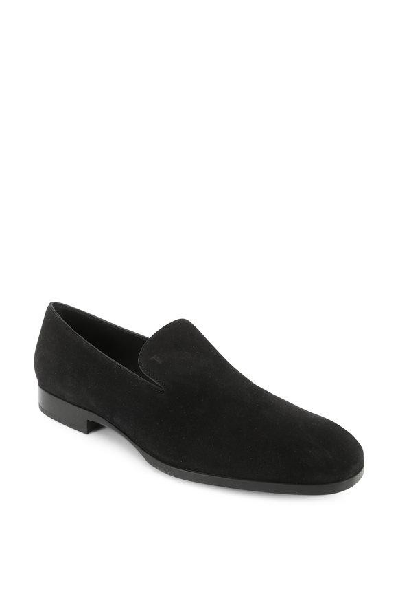 Tod's Pantofola Black Suede Loafer