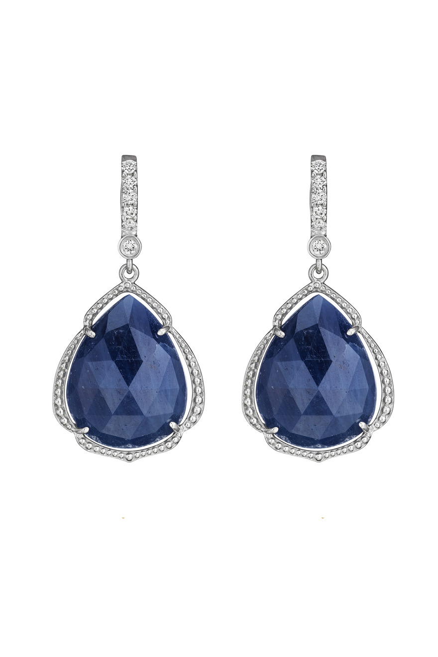White Gold Pear Shape Blue Sapphire Earrings