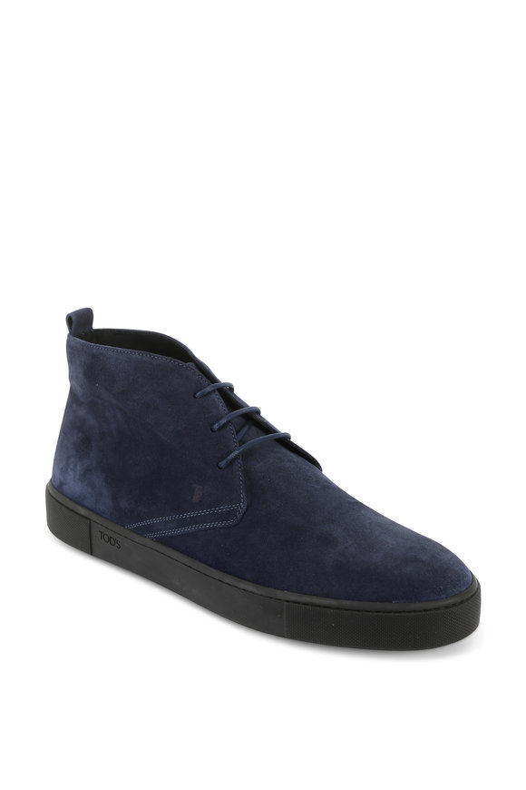 Tod's Polacco Navy Blue Suede Boot