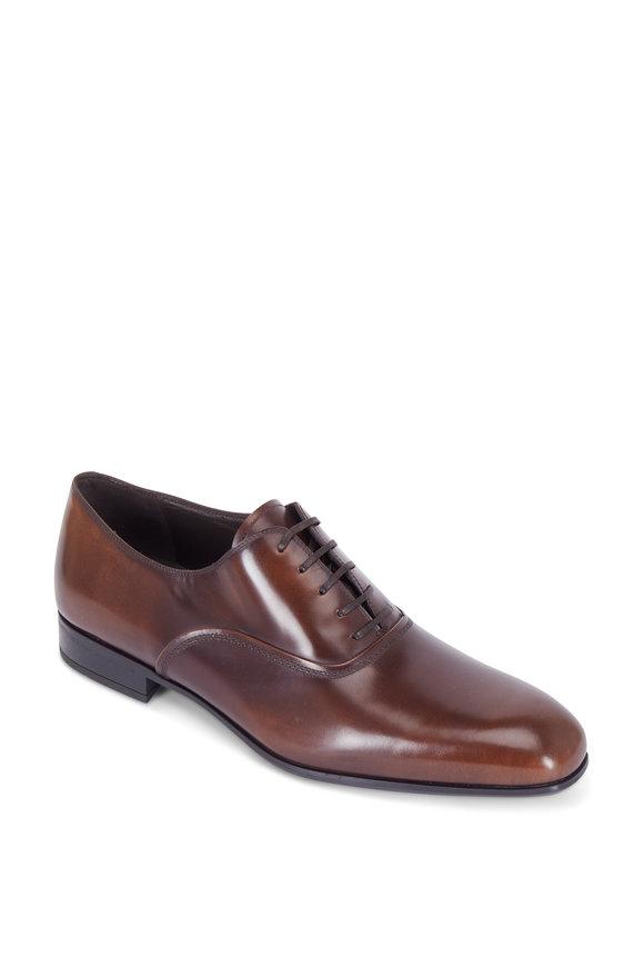 Salvatore Ferragamo Dunn Madera Brown Leather Oxford