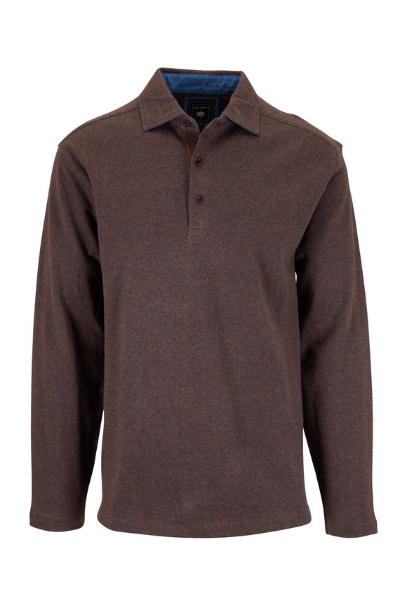 Thaddeus Apparel Reiner Chestnut Herringbone Long Sleeve Polo
