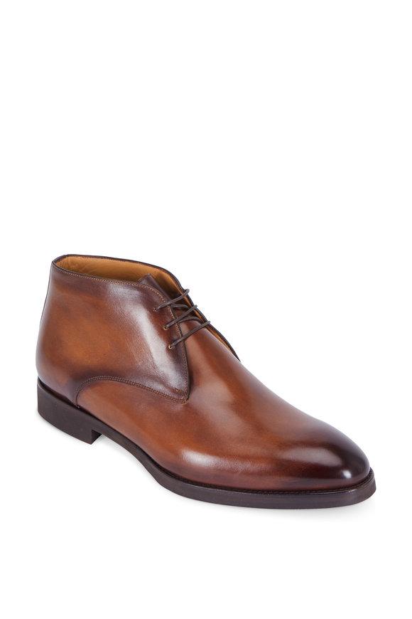 Di Bianco Medium Brown Burnished Leather Chukka Boot