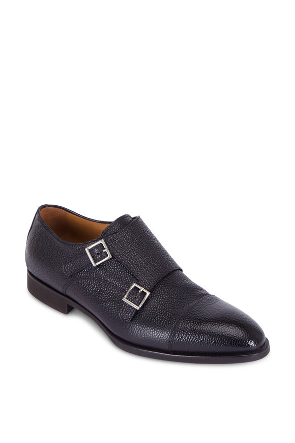 Di Bianco Black Grained Leather Double Monk Shoe