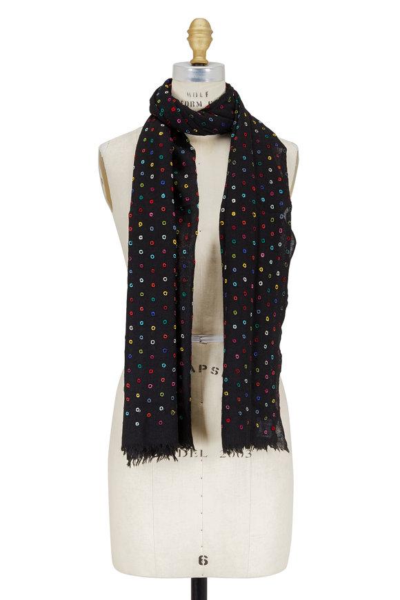Faliero Sarti Black Multicolor Circle Wool & Silk Scarf