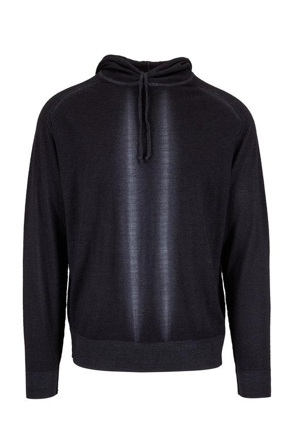 Good Man Brand Black Modern Striped Wool Hoodie