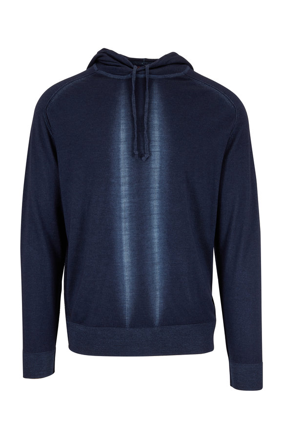 Good Man Brand Navy Blue Modern Striped Wool Hoodie