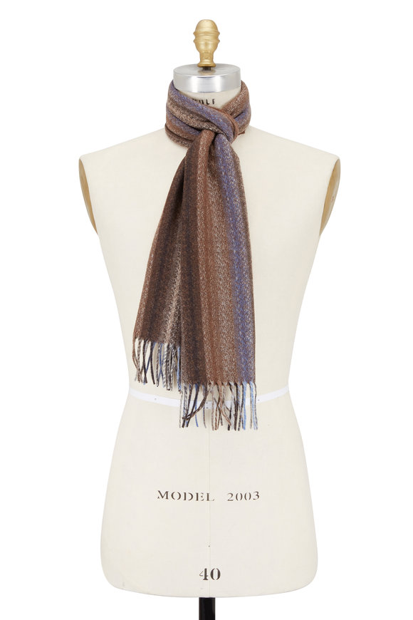 Chelsey Imports Light Brown Striped Cashmere Scarf