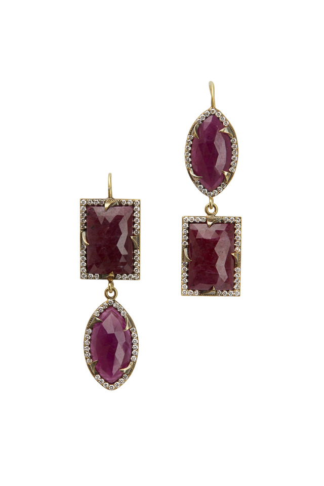 Yellow Gold Ruby Diamond Earrings