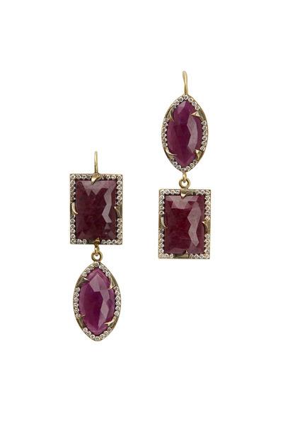 Sylva & Cie - Yellow Gold Ruby Diamond Earrings
