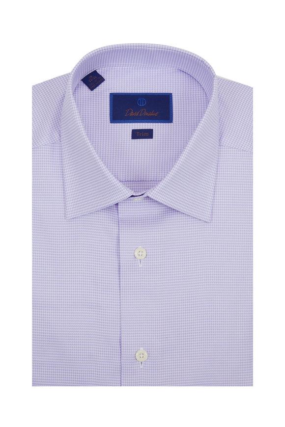 David Donahue Lilac Check Trim Fit Dress Shirt