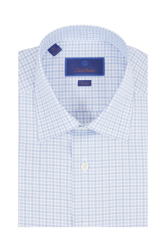 David Donahue Light Blue Check Trim Fit Dress Shirt