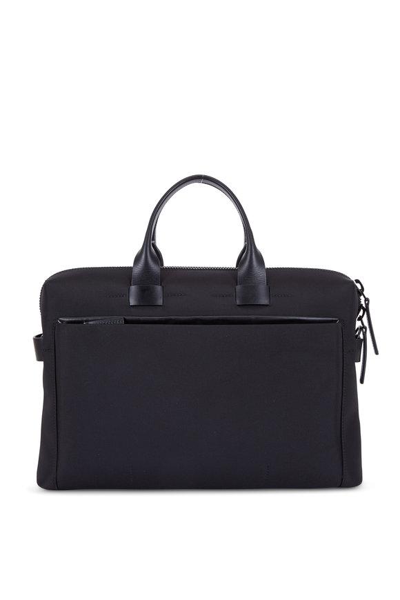 Troubadour Black Nylon & Leather Slim Briefcase