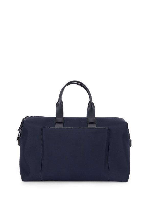 Troubadour Navy Blue Nylon & Leather Weekender Bag