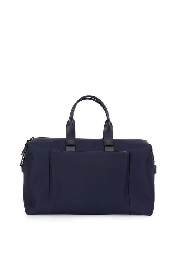 Troubadour Navy Blue Nylon & Leather Weekender Bag
