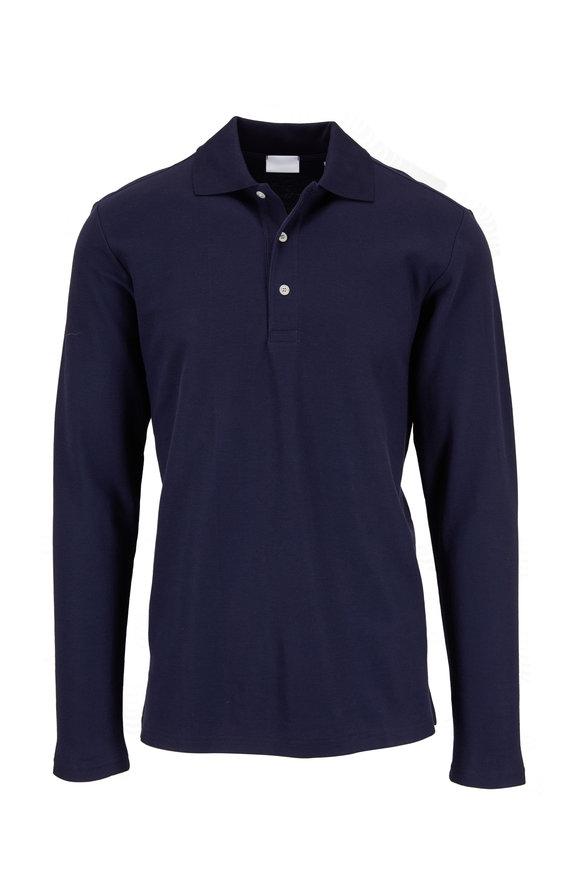 Handvaerk Navy Blue Long Sleeve Polo