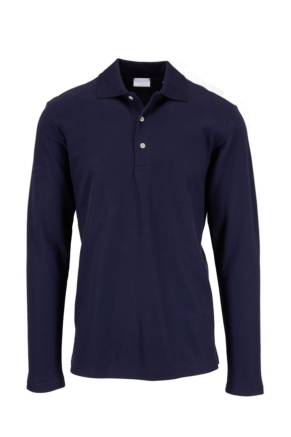 Handvaerk Navy Blue Long Sleeve Polo