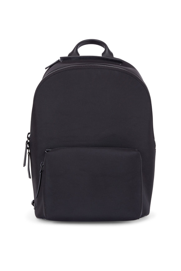 Troubadour Black Nylon & Leather Weather-Resistant Backpack