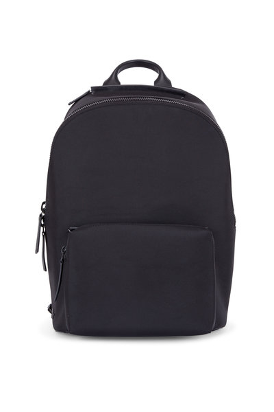 Troubadour - Black Nylon & Leather Weather-Resistant Backpack
