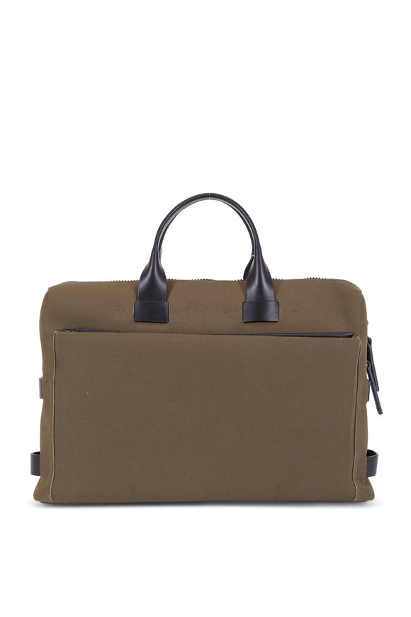 Troubadour Khaki Canvas & Leather Slim Briefcase