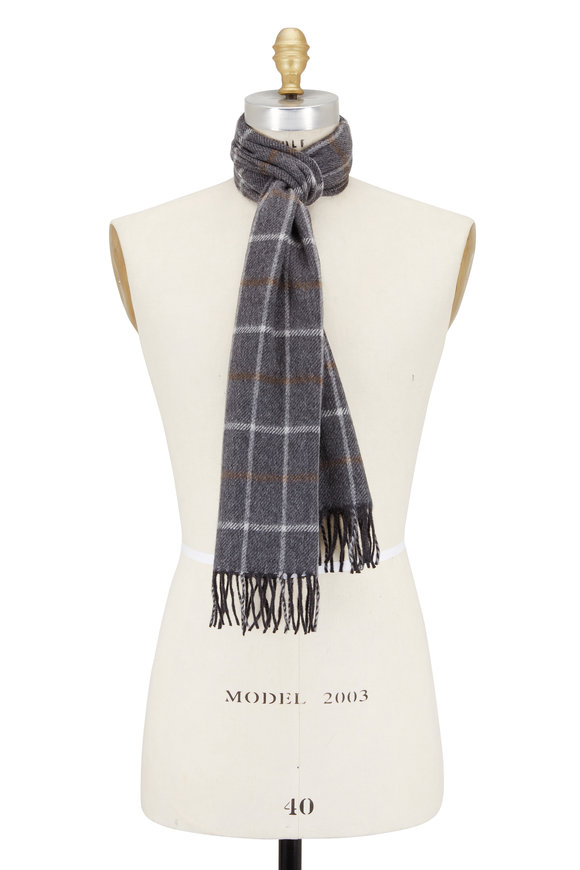 Chelsey Imports Gray Windowpane Cashmere Scarf