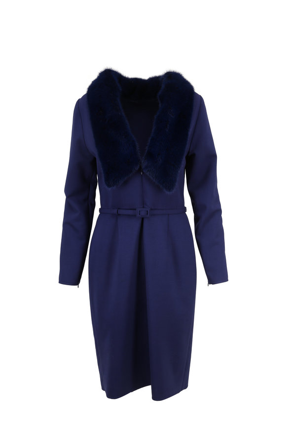Carolina Herrera Blue Stretch Wool & Mink Trim Fitted Dress