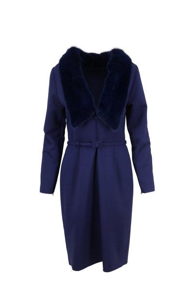 Carolina Herrera - Blue Stretch Wool & Mink Trim Fitted Dress