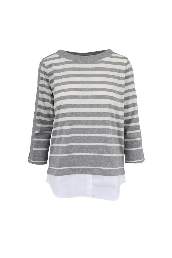 Bogner Bonnie Light Gray & White Striped Double-Layer Top