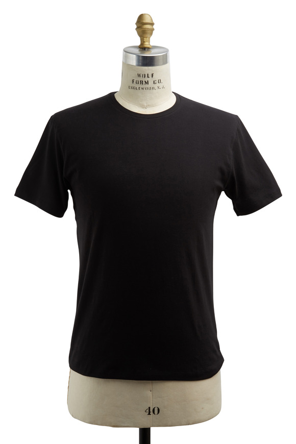 PYA Patrick Assaraf Black Stretch Cotton T-Shirt