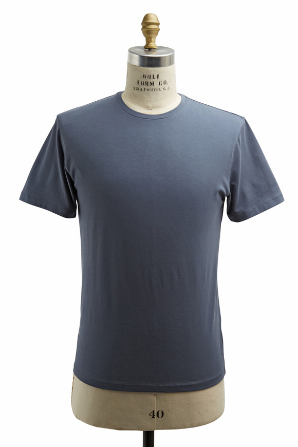 PYA Patrick Assaraf Dusky Blue Stretch Cotton T-Shirt