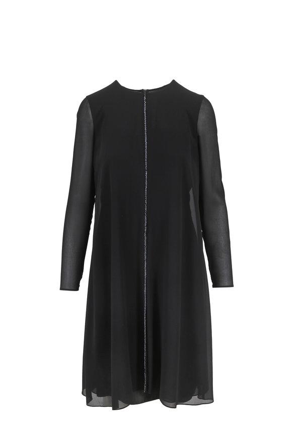 Akris Flash Black Georgette Embroidered Front Dress