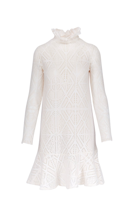 See by Chloé Milk Jersey Lace Ruffled Collar Long Sleeve Dress