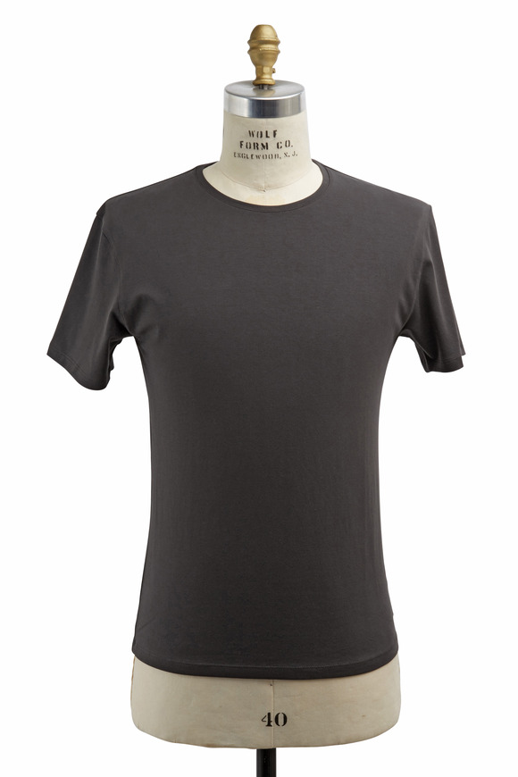PYA Patrick Assaraf Charcoal Gray Stretch Cotton T-Shirt