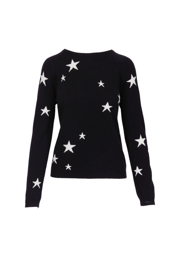 Chinti & Parker Star Black & Cream Cashmere Sweater