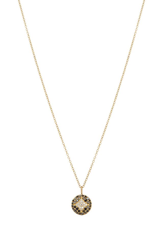 Aladdin Gold Black & White Diamond Disc Necklace