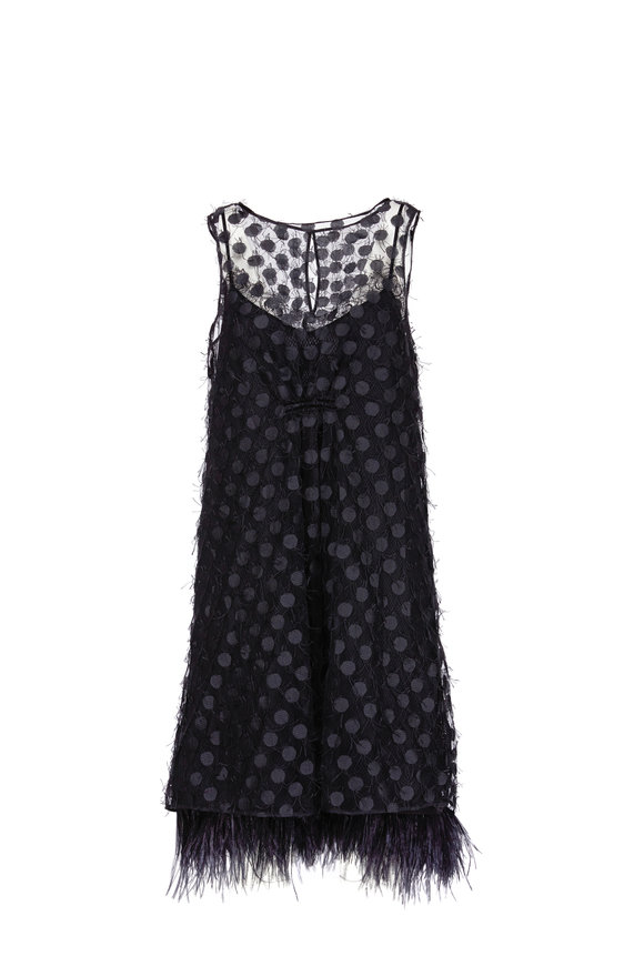 Dorothee Schumacher Eclectic Match Black Tulle & Feather Hem Dress